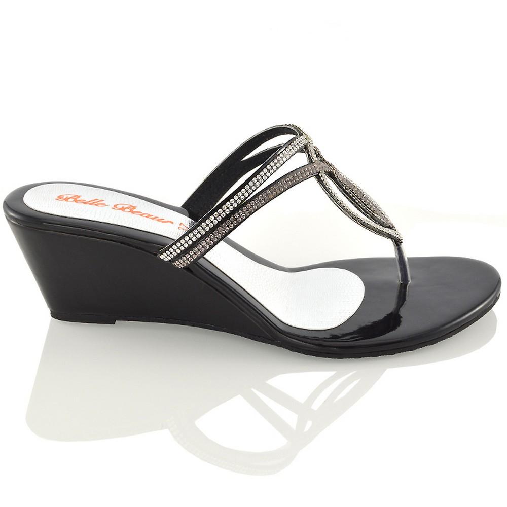 0ba8544b276 Womens Wedge Heel T Bar Diamante Sparkly Ladies Toe Post Sandals Shoes Size  3 9 Ebay