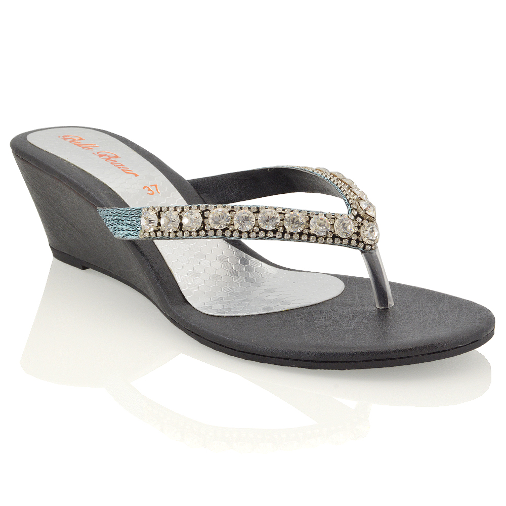 Details about NEW WOMENS LOW HEEL WEDGE DIAMANTE SANDALS LADIES TOE POST SPARKLY SLIP ON SHOES