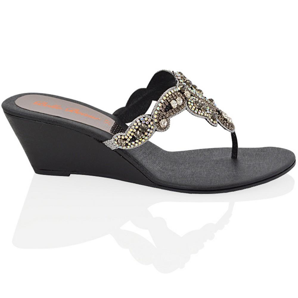 Womens Low Wedge Heel Sandals Ladies Toe Post Diamante