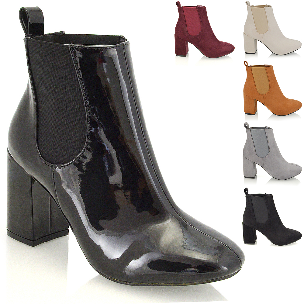 Womens Ladies Mid Block Heel Gusset Chelsea Grey Black Ankle Boots Shoes Size