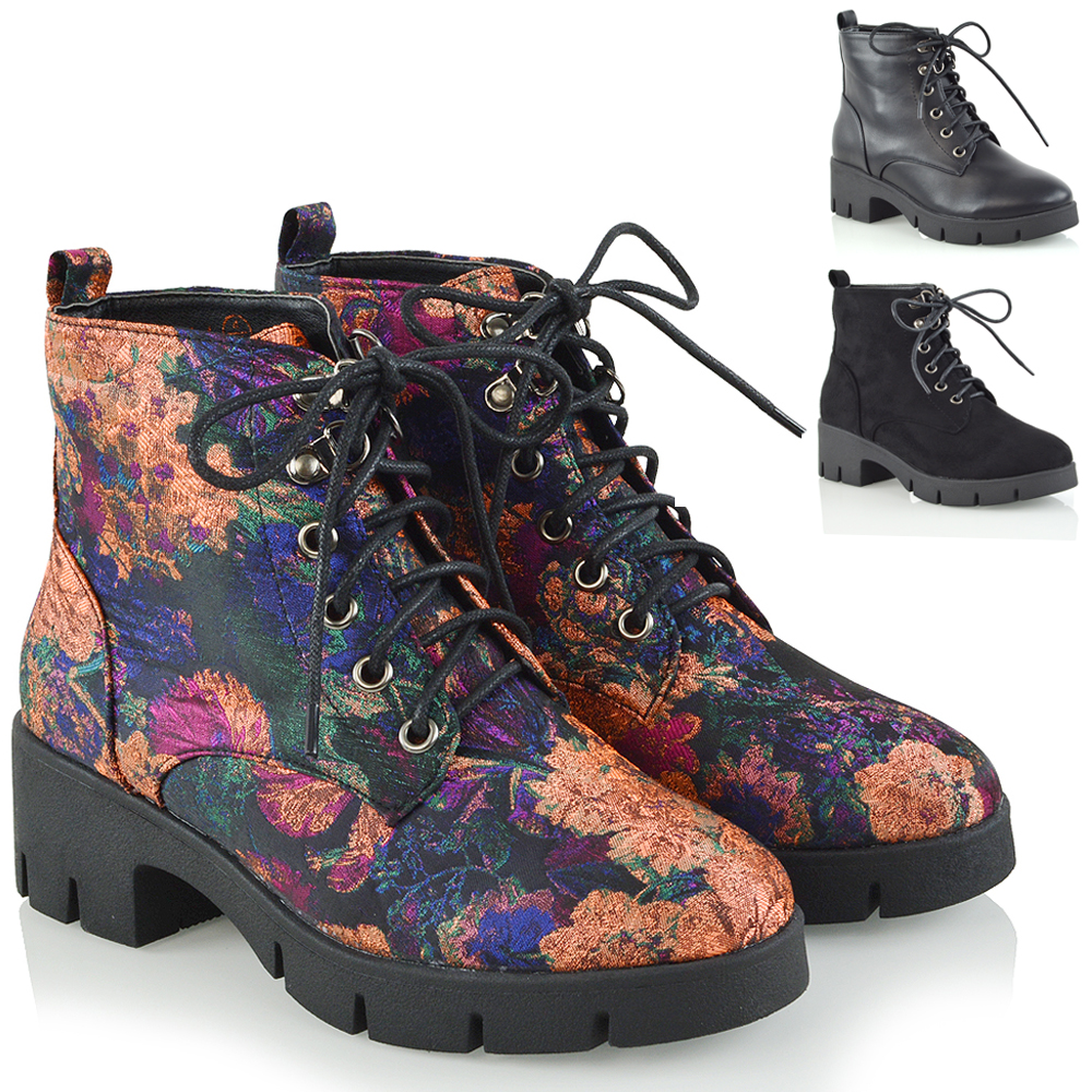 Womens Ladies Lined Lace Up Biker Punk Military Combat Boots Shoes Size 3-8