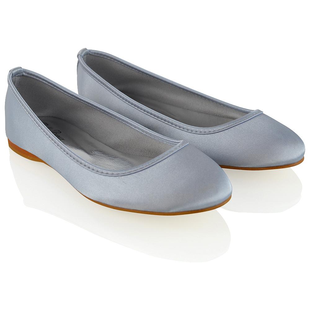 New Womens Bridal Shoes Satin Flower Girl Ladies Wedding Prom Pumps ...