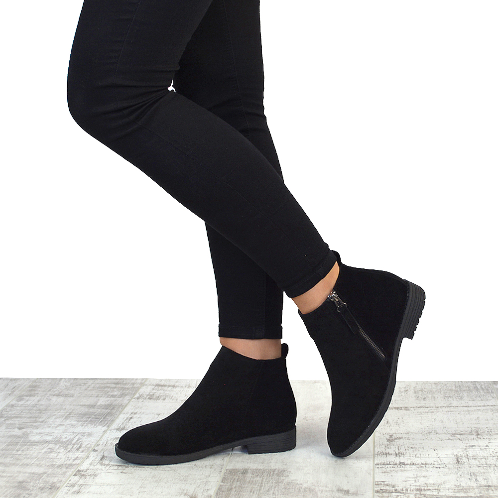 Womens Chelsea Block Heel Riding Biker Metal Zip Ladies Flat Ankle ...