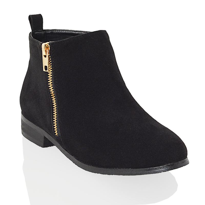 4048d98d6e73 Womens Chelsea Ankle Boots Flat Ladies Biker Pixie Zip Casual Booties Shoes  Size