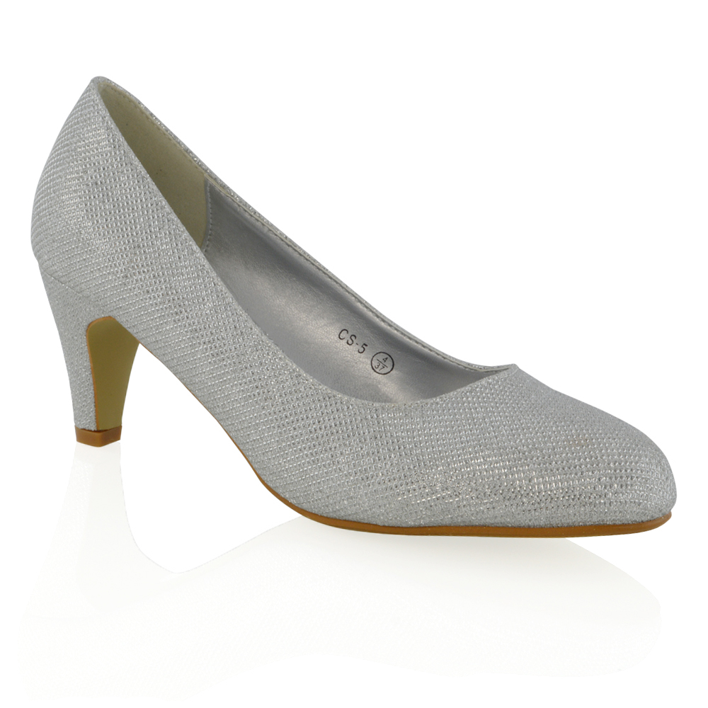 Bridal Low Heel Courts Shoes Glitter Ladies Evening Party ...