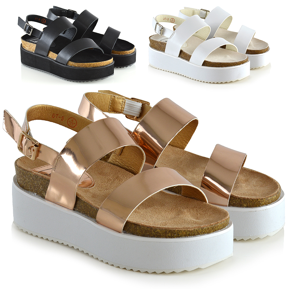 Details about New Womens Wedge Heel Strappy Sandals Ladies Chunky Platform Shoes Size 3 8