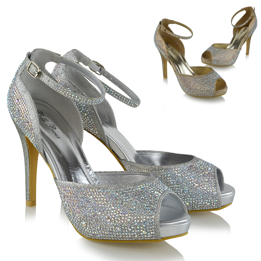 Ladies Diamante Party Wedding Womens Stilettos Heels Platform Court Shoes Size