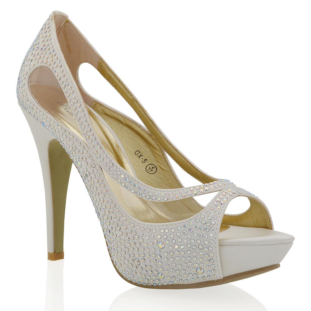 Womens High Heel Platform Satin Ladies Diamante Crystal ...