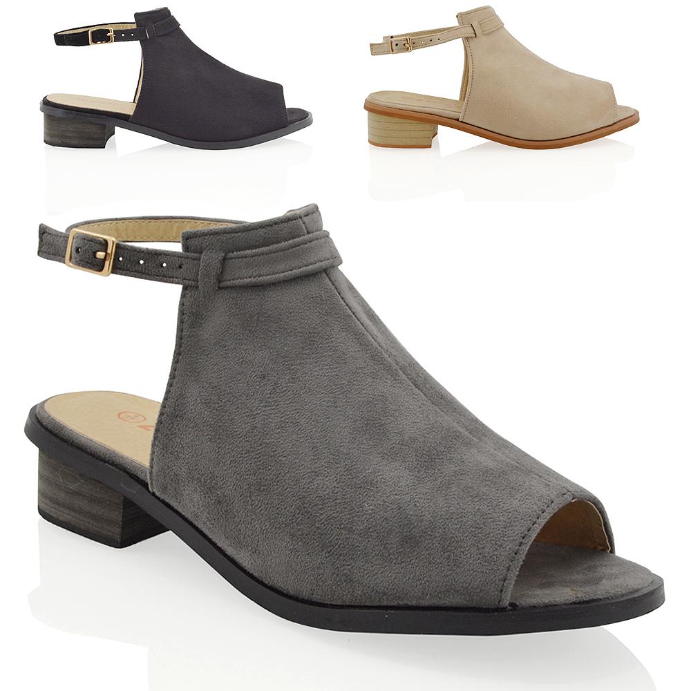 e23fa3d9f74f Details about Womens Low Block Heel Flat Cut Out Faux Suede Ladies Ankle  Strap Sandals Shoes