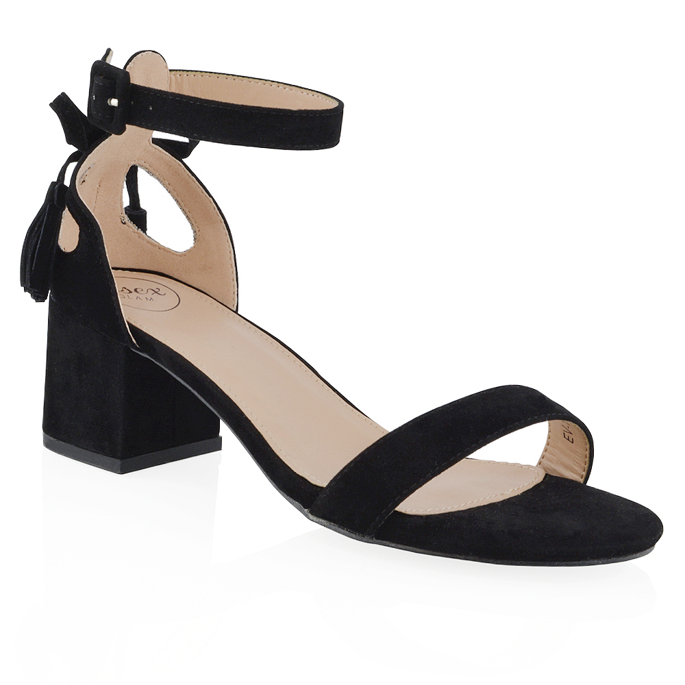 Details about New Womens Ankle Strap Block Low Heel Cut Out Bow Ladies Strappy Sandals Shoes