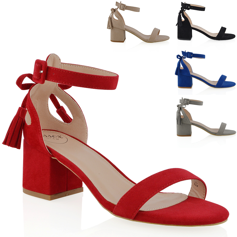 30388b2d8be NEW WOMENS ANKLE STRAP BLOCK LOW HEEL CUT OUT BOW LADIES STRAPPY SANDALS  SHOES