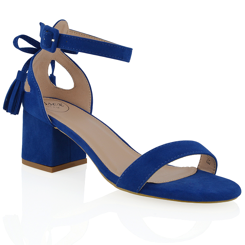 0ab9ff578a3 Details about New Womens Ankle Strap Block Low Heel Cut Out Bow Ladies  Strappy Sandals Shoes