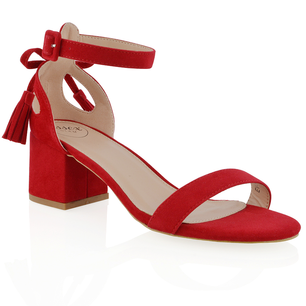 Red Mid Heel Strappy Shoes