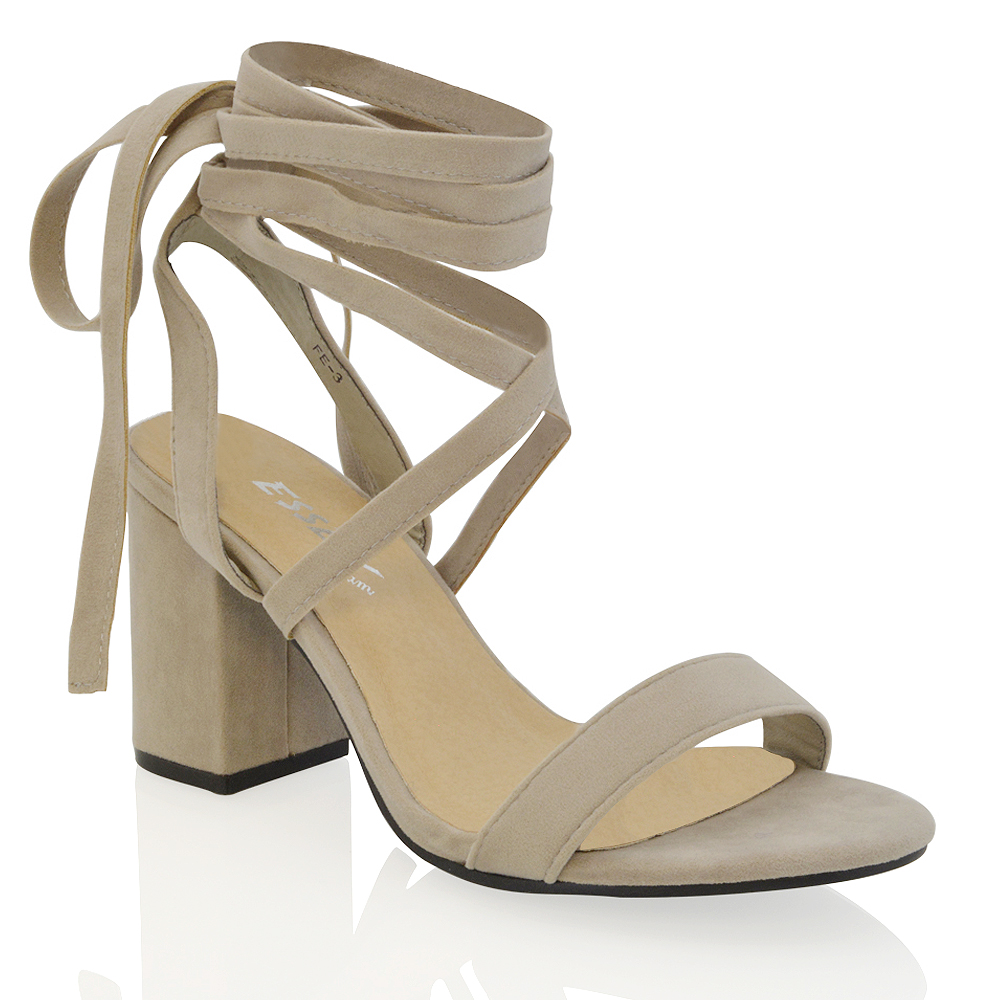 0e3624946e6ad Details about Womens Lace Up Block Mid Heel Ankle Tie Wrap Lace Up Strappy  Sandal Shoes Size