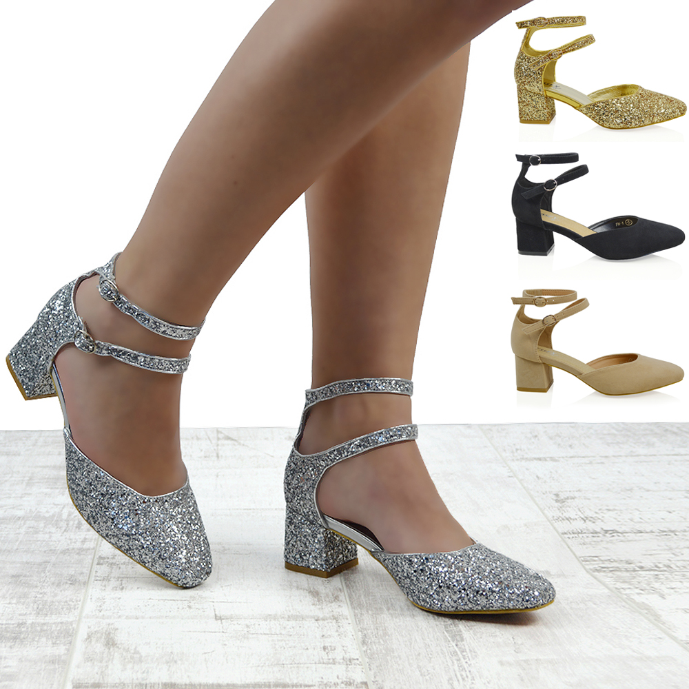 Gold Block Heel Wedding Shoes