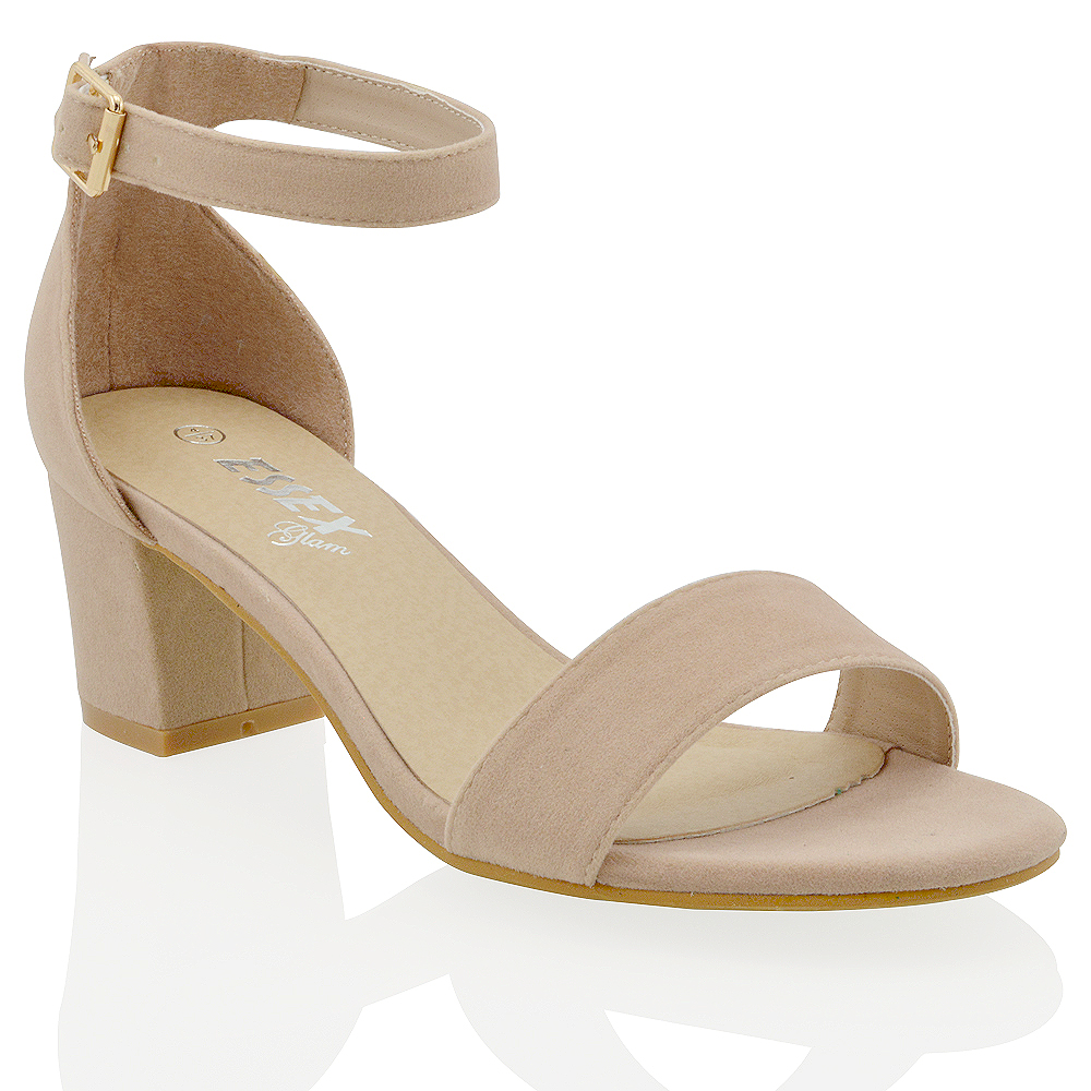 f59f1b5fea3 WOMEN S LOW MID HEEL BLOCK PEEP TOE LADIES ANKLE STRAP PARTY STRAPPY SANDALS