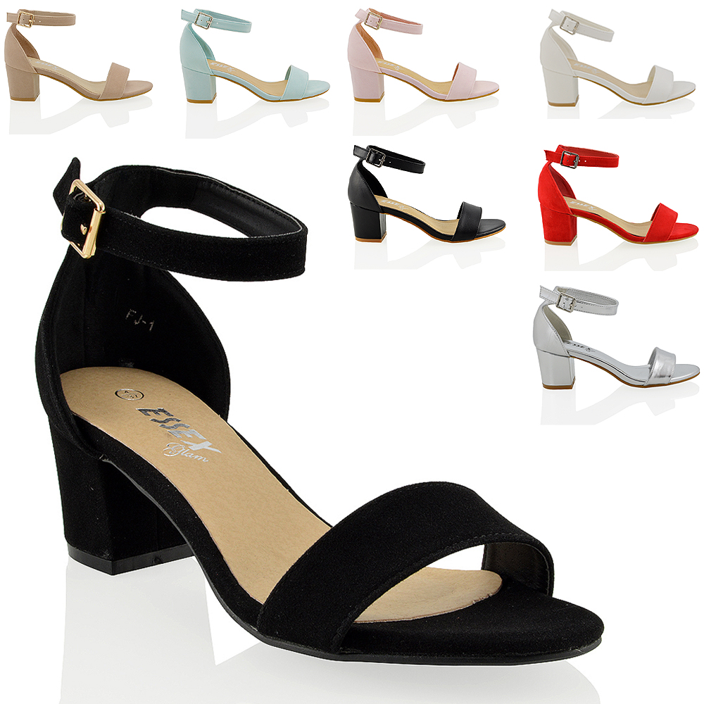 acb87c8c366f Womens Low Mid Heel Block Peep Toe Ladies Ankle Strap .