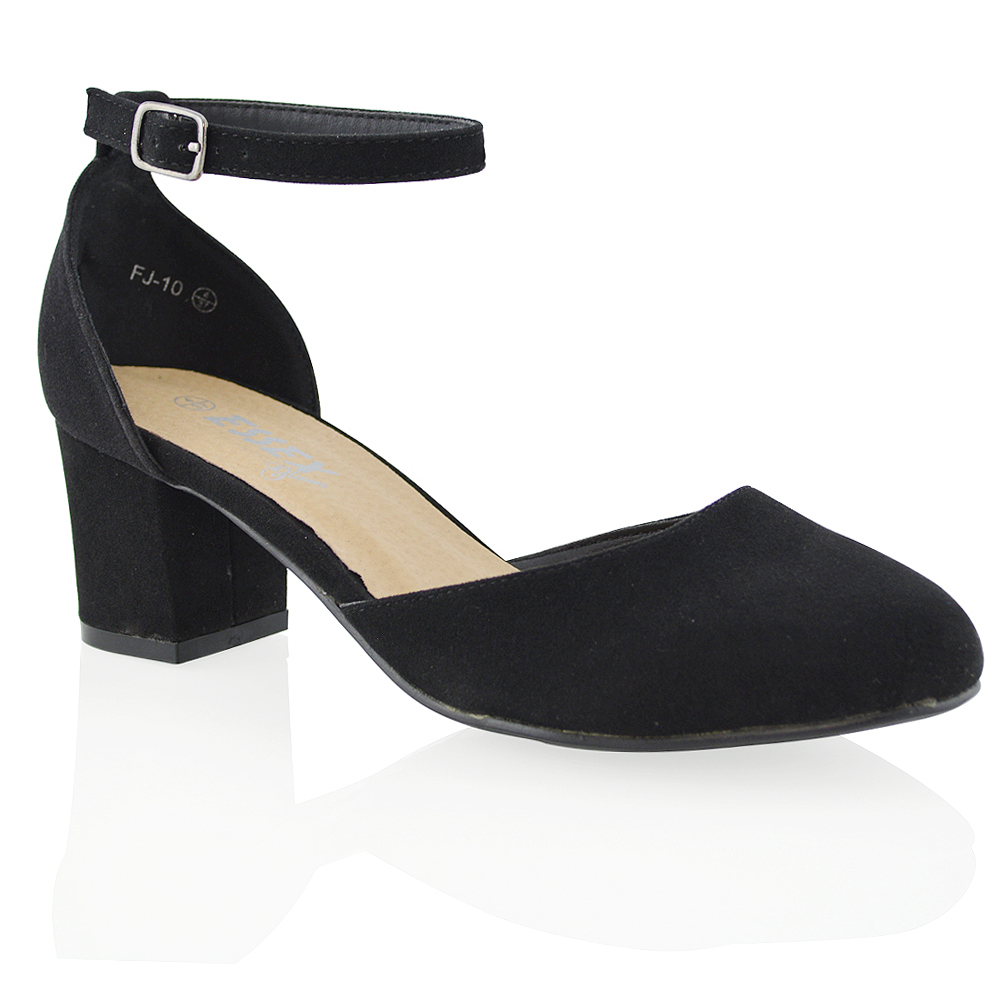Flat Black Court Shoes With Strap