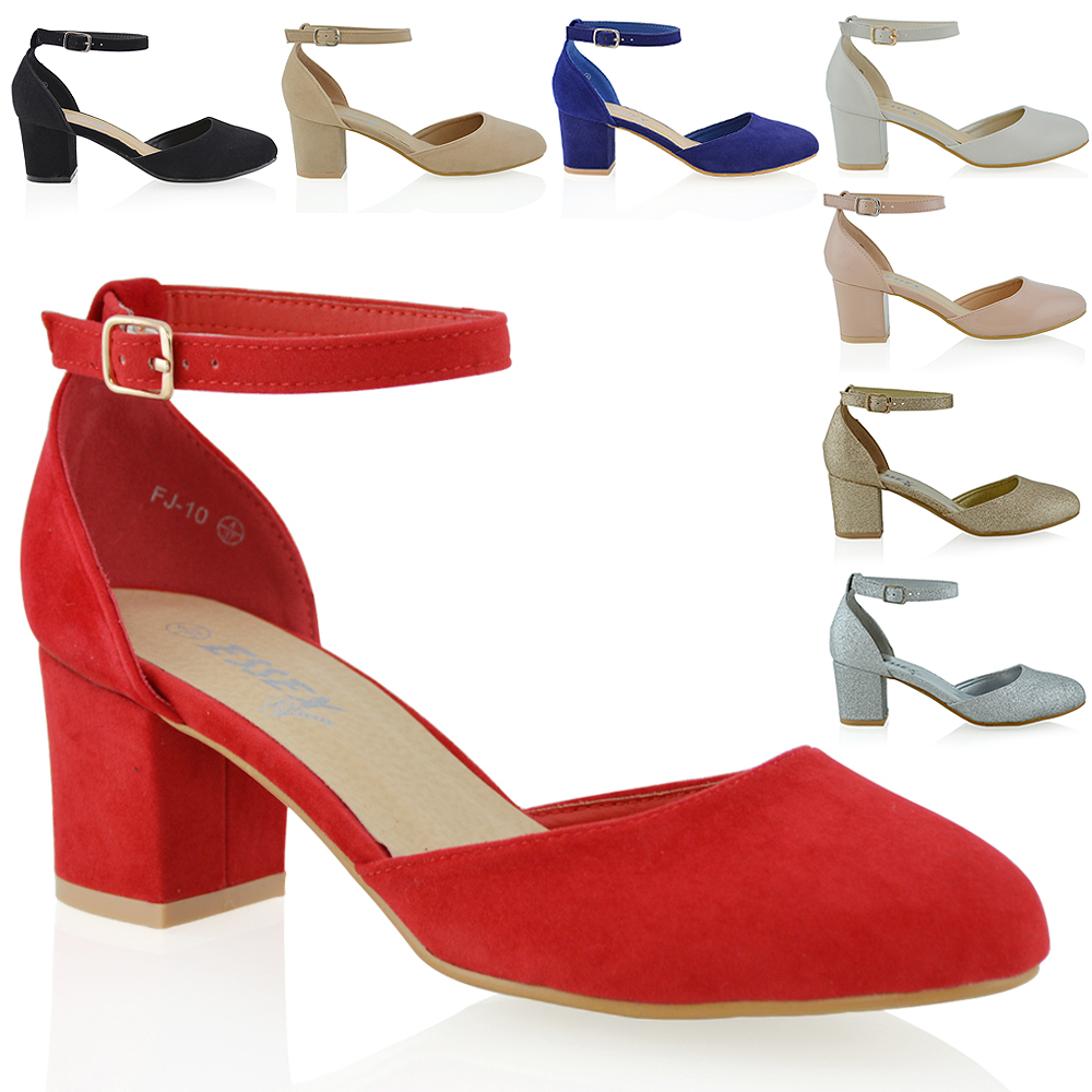 exclusive deals attractive price utterly stylish Womens Closed Toe Ankle Strap Sandals Ladies Low Mid Block Heel ...