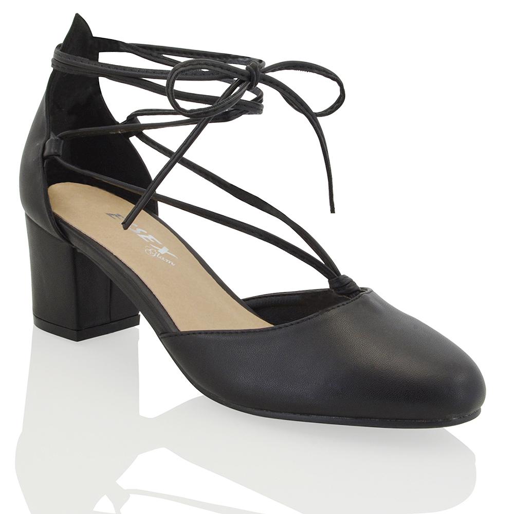 Lace Up Court Shoe Block Heel