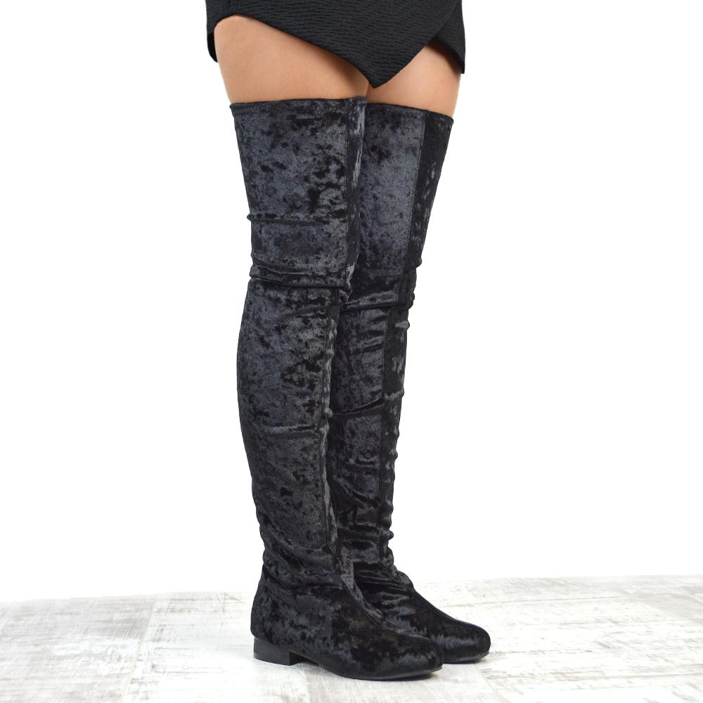 womens thigh high flat stretch leg tall zip ladies over