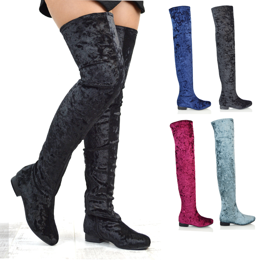 4264e6ce9ea Womens Thigh High Flat Stretch Leg Tall Zip Ladies Over The Knee Riding  Boots