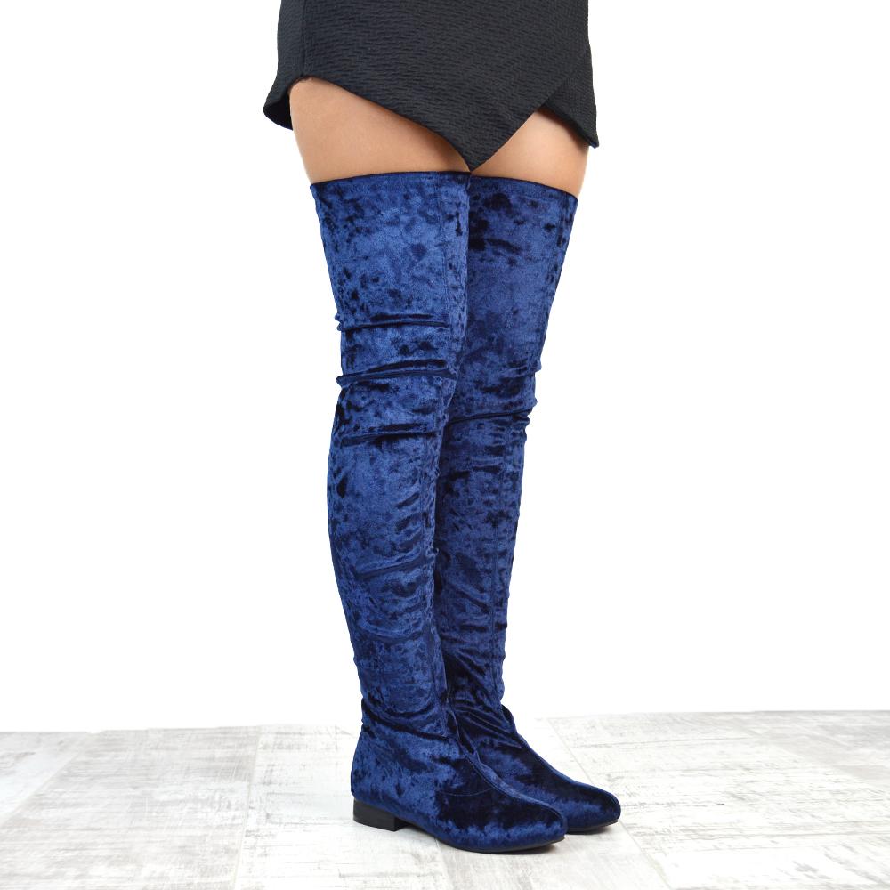 womens flat thigh high velvet stretch the