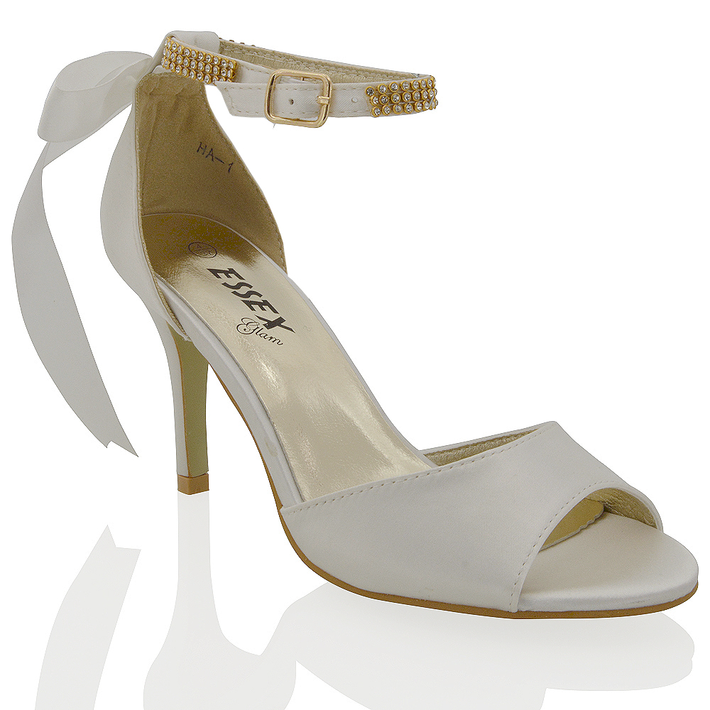 Peep Toe Whitr Bridal Shoe With Satin Bow