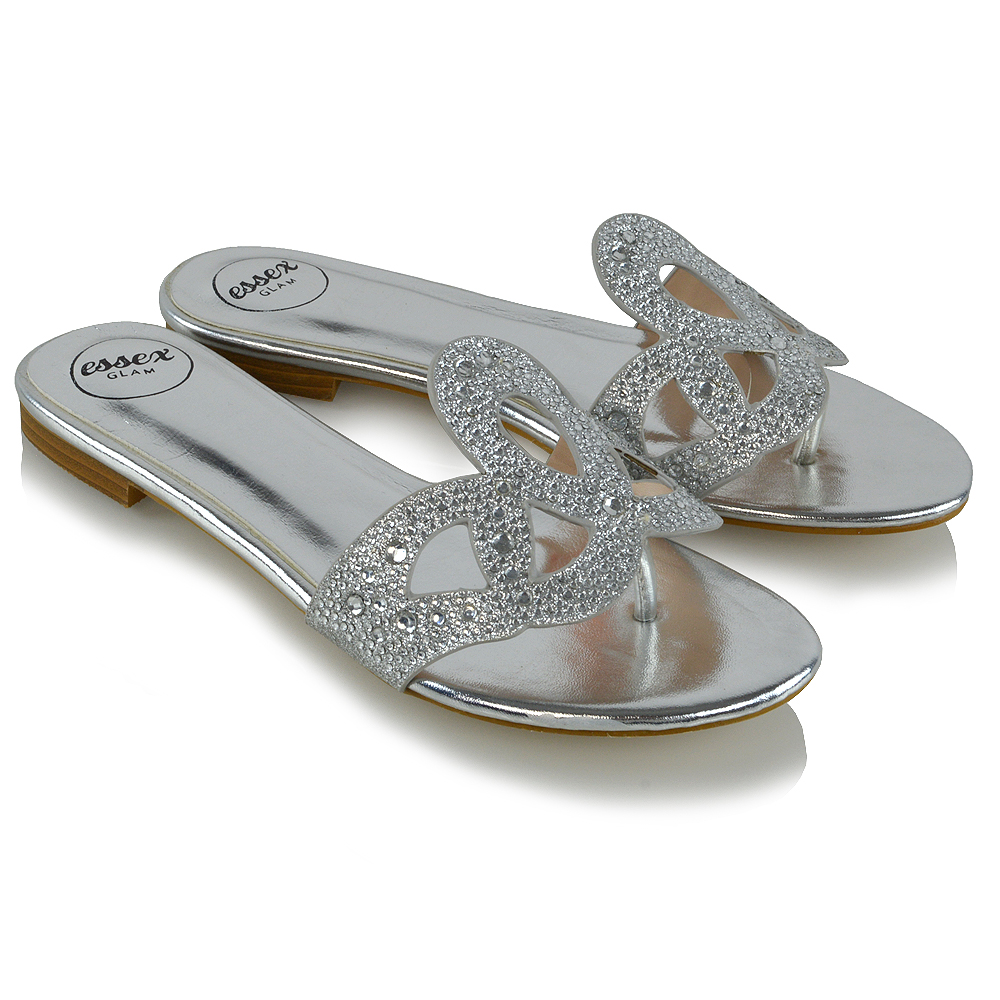 b065a18bf Womens Slip On Diamante Sandals Ladies Toe Post Flat Holiday Beach ...