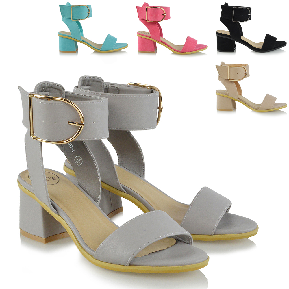 2ed5da3b5e2 Details about Ladies Ankle Strap Sandals Low Block Heel Womens Peep Toe  Party Shoes Size