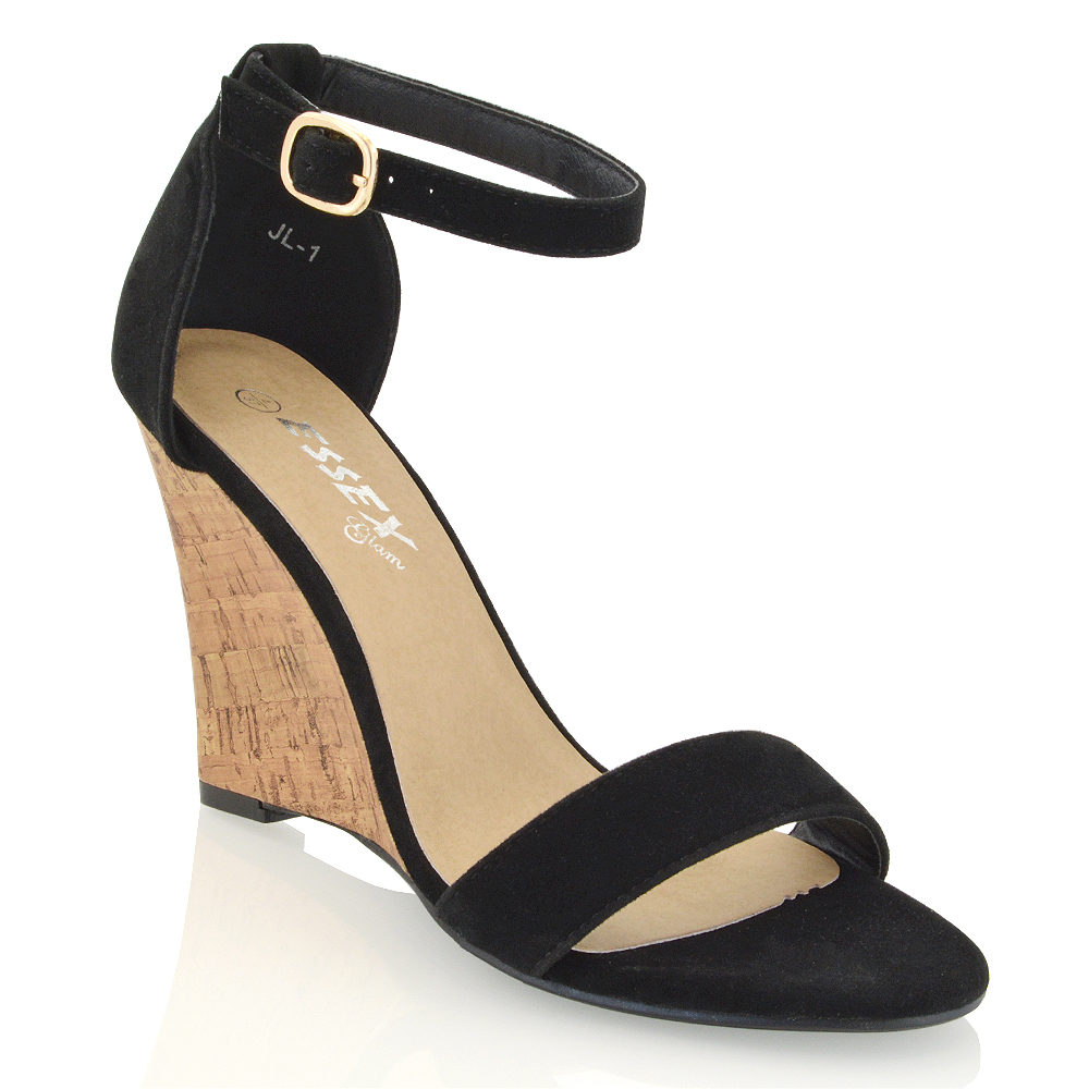 New Womens Wedge Heel Strappy Ladies Peep Toe Party Ankle