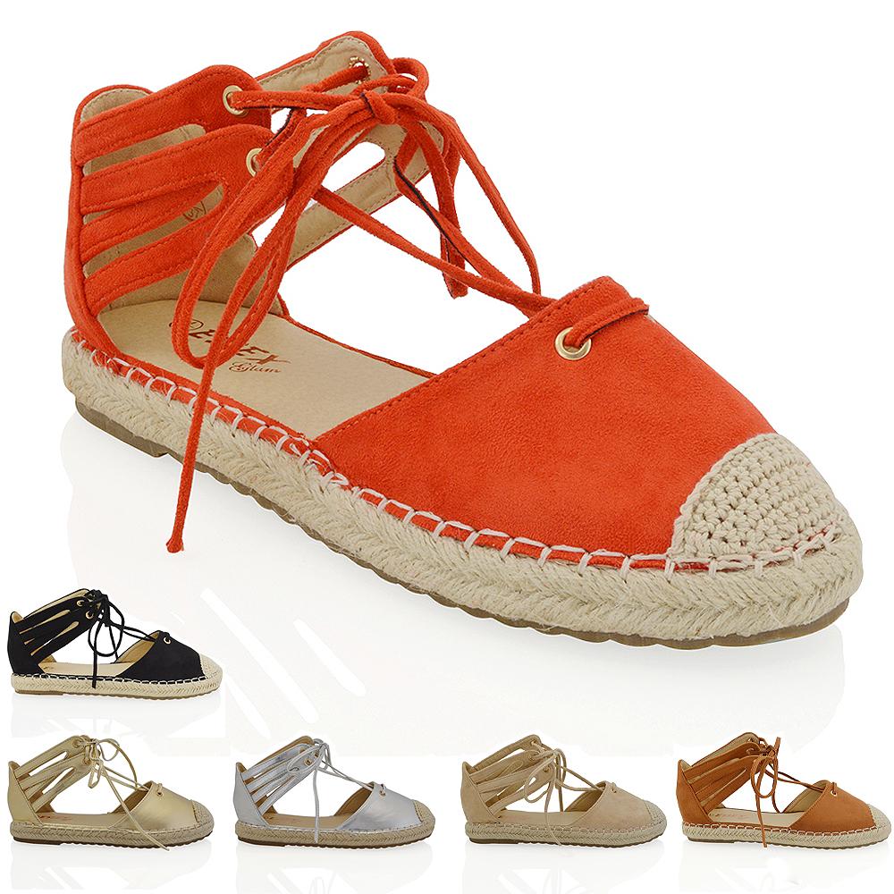 Womens Lace Up Flat Espadrilles Sandals Ladies Ankle Strap