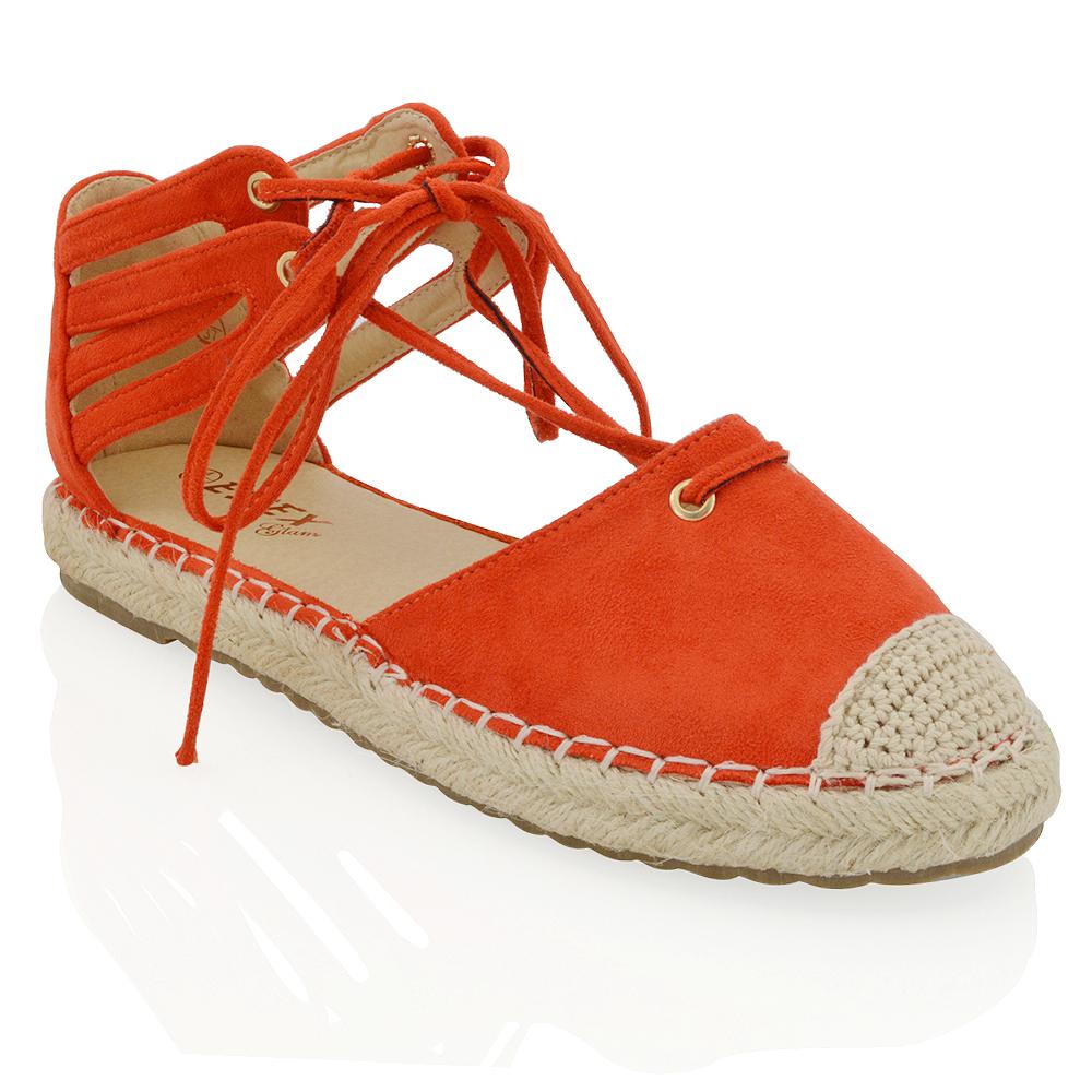 womens lace up flat espadrilles sandals ladies ankle strap casual shoes size ebay. Black Bedroom Furniture Sets. Home Design Ideas