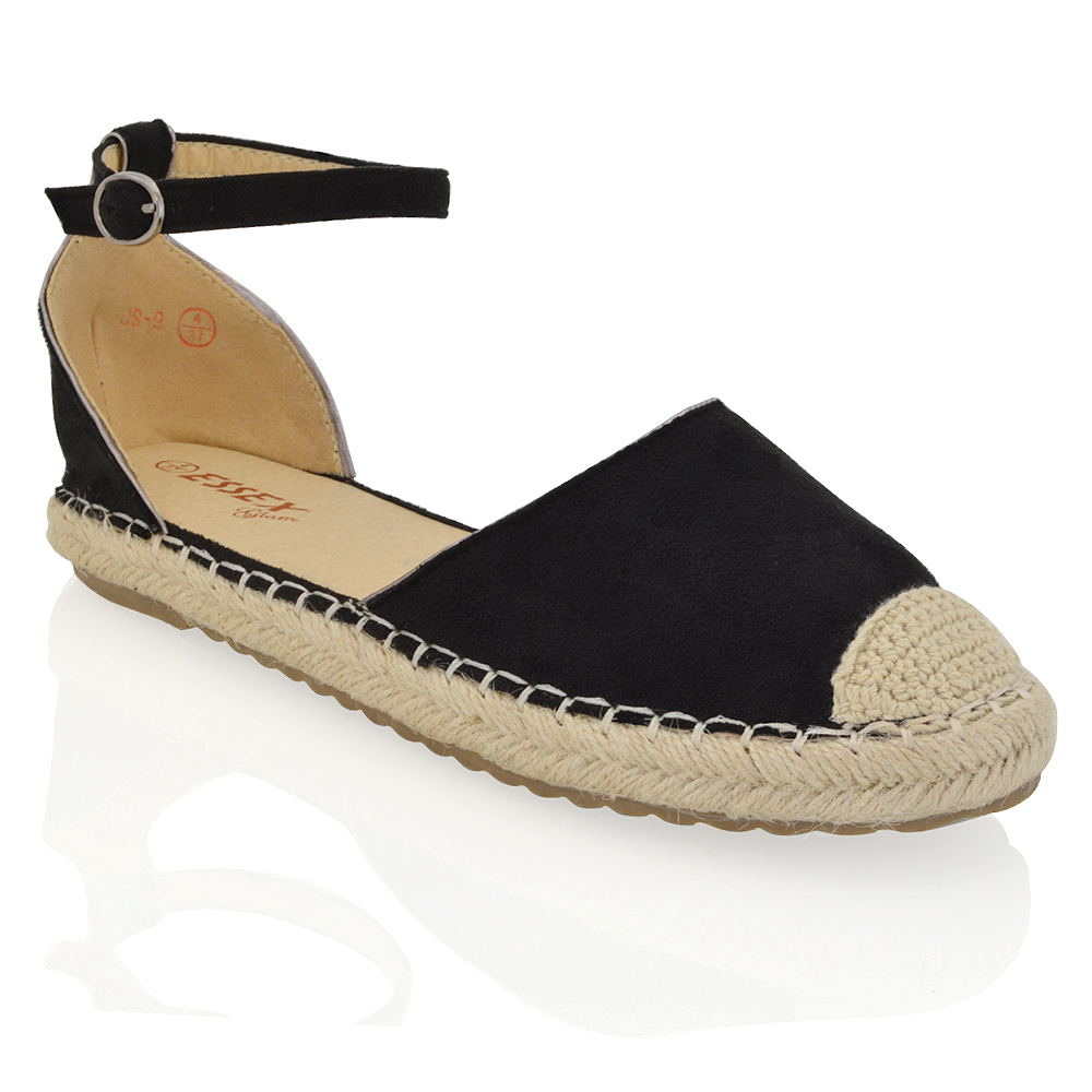 WOMENS ESPADRILLES ANKLE STRAP FLAT SANDALS LADIES SUMMER ...