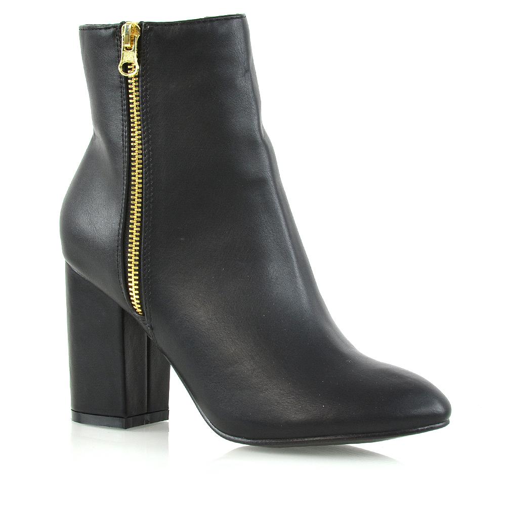 f5eba19065b Womens Ankle Boots Block Mid High Heel Boots Ladies Metal Zip Biker Booties  Size