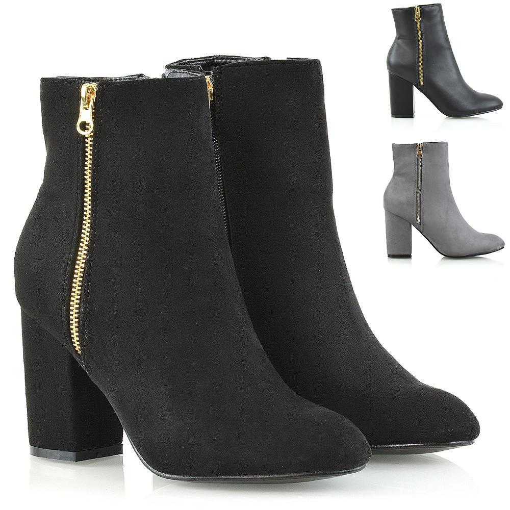 216d3d977387e Womens Ankle Boots Block Mid High Heel Boots Ladies Metal Zip Biker Booties  Size