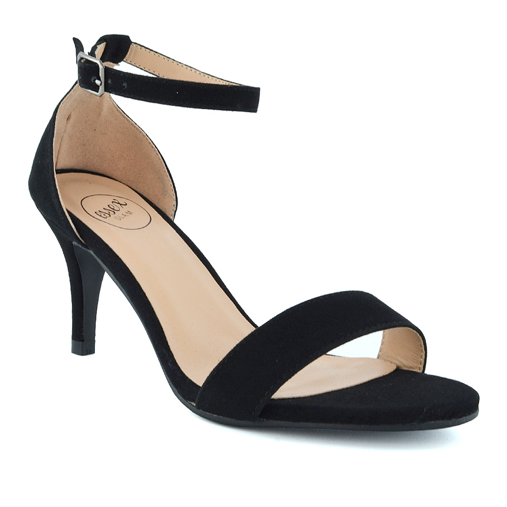 f020d5393a1 Womens Low Heel Stiletto Sandals Ladies Peep Toe Party Prom Ankle Strap  Shoes