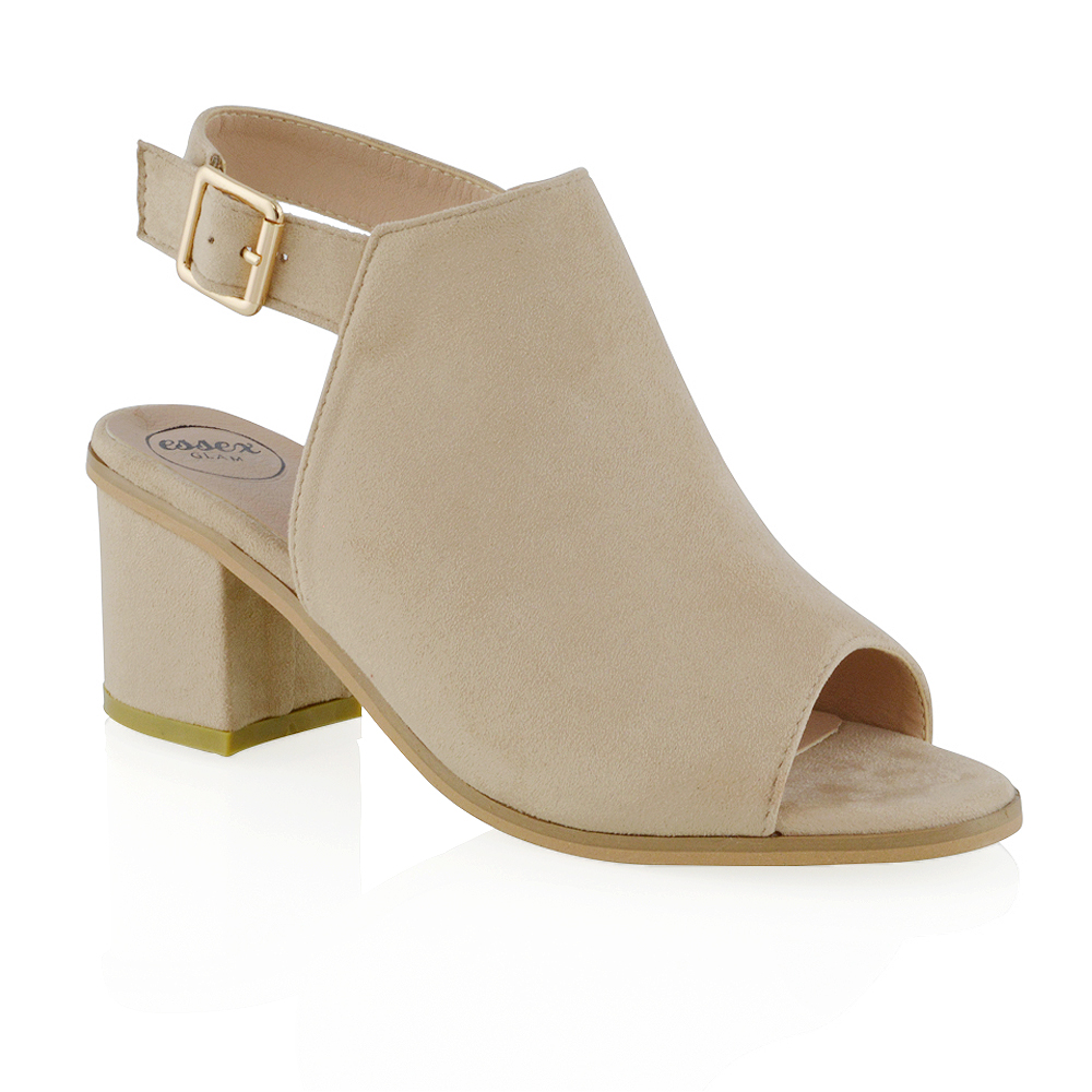 bde0a5695bf Details about Womens Low Heel Peep Toe Buckle Mule Ladies Open Back Strap  Ankle Shoe Boots