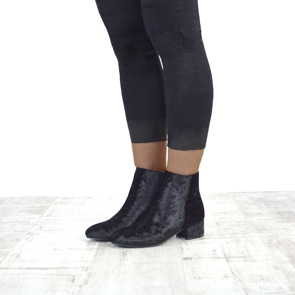 a53bf885b88b0 NEW WOMENS VELVET FLAT HEEL CHELSEA LADIES SHORT PIXIE ZIP ANKLE BOOTS SHOES