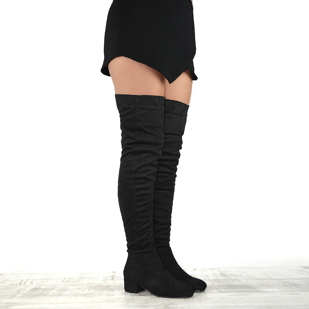 0b79231774c5 Click on the Image to Enlarge. Product description. WOMENS OVER THE KNEE  HIGH BLOCK LOW HEEL LADIES TALL CUT OUT THIGH HIGH BOOTS