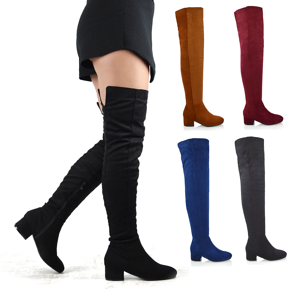 cozy fresh stable quality hot new products Details about Womens Over The Knee Boots Low Heel Ladies Zip Casual Riding  Thigh High Boots