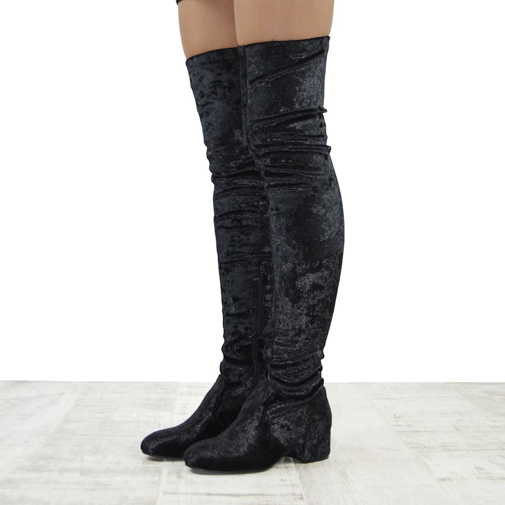 739eb3629a1 Details about Womens Thigh High Chunky Low Heel Ladies Zip Stretch Casual  Over The Knee Boots