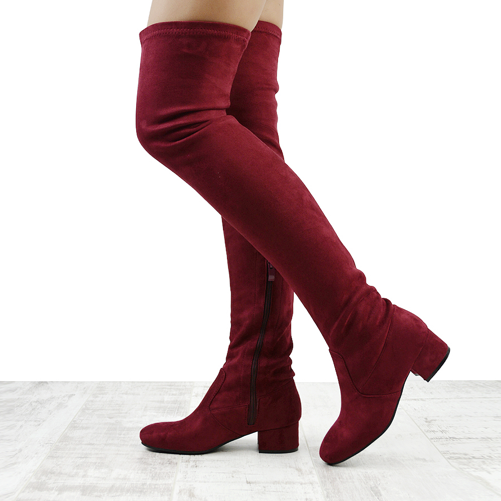a8c462275953 WOMENS THIGH HIGH CHUNKY LOW HEEL LADIES ZIP STRETCH CASUAL OVER THE KNEE  BOOTS