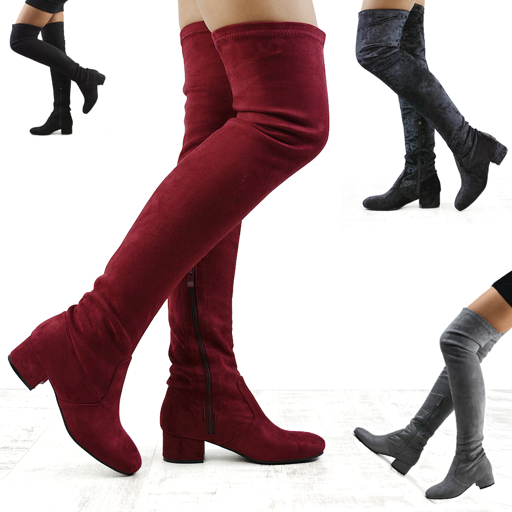 most popular performance sportswear finest fabrics Details about Womens Thigh High Chunky Low Heel Ladies Zip Stretch Casual  Over The Knee Boots