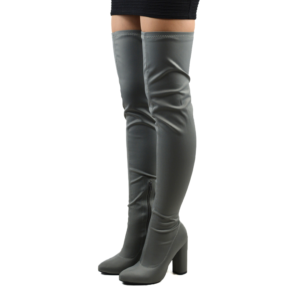 New Womens Thigh High Round Heel Stretch Ladies Over The