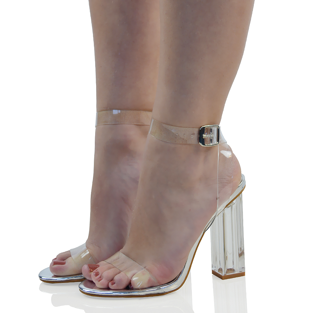 Womens High Clear Heels Sandals Ankle Strappy Ladies Peep