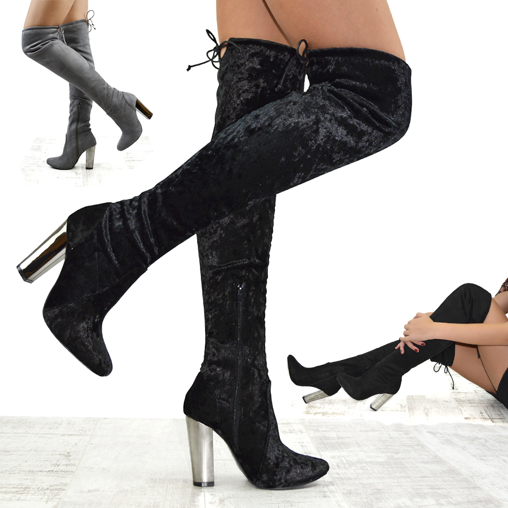 d1499930f77 WOMENS OVER THE KNEE CHROME HEEL LADIES LACE STRETCH THIGH HIGH LONG LEG  BOOTS