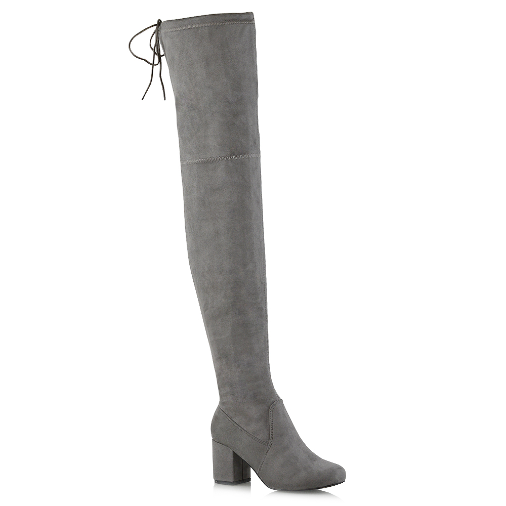 Womens Thigh High Boots Ladies Over The Knee Lace Up Long Low Mid Heel  Shoes 3-8 | eBay