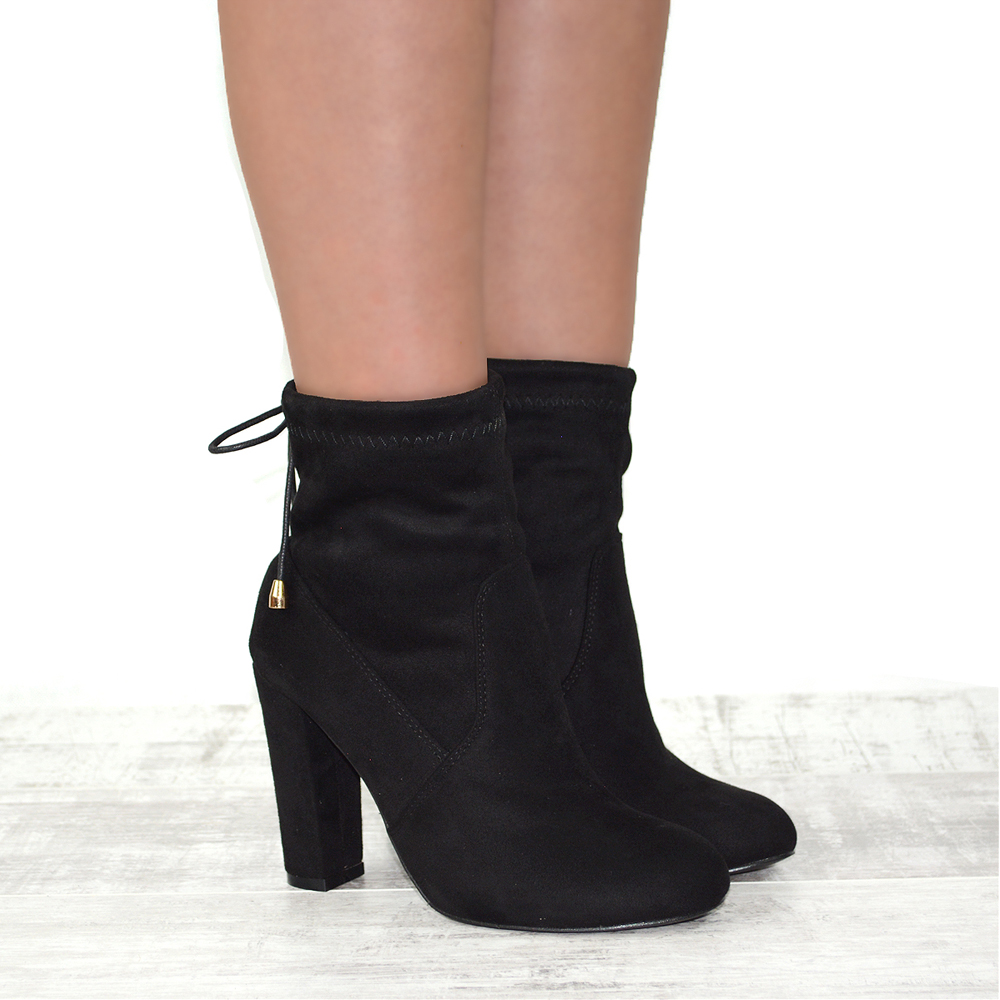 new womens smart block heel stretch pull on