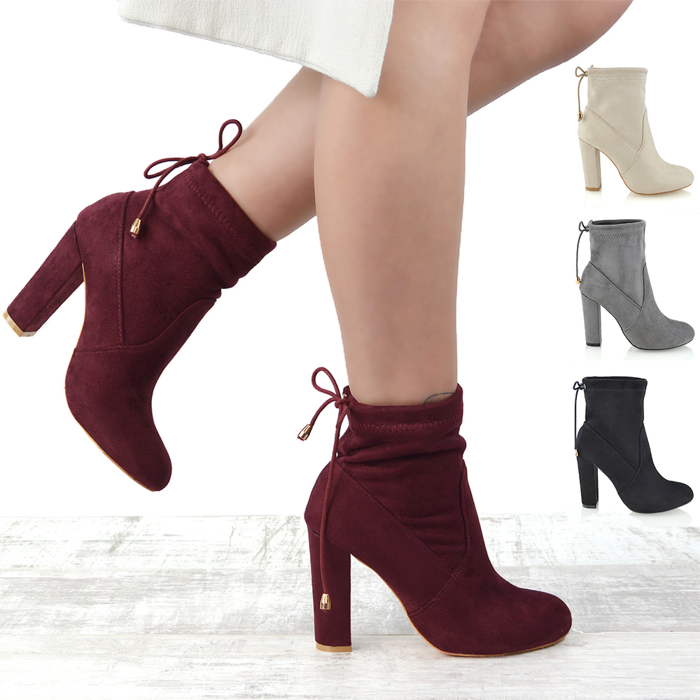 Womens ladies block high heel stretch smart casual chelsea ankle boots size